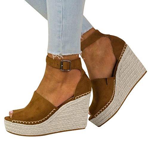 Fannyfuny_Zapatos de Verano Sandalias Mujer Zapatos Tacon Mujer Cuña Casuales Zapatillas de Cuña para Mujeres Primavera Verano Tacón Cuña Zapatos de Fiesta