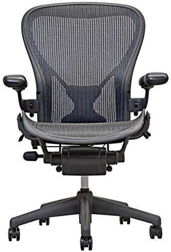 Aeron Chair by Herman Miller - Highly Adjustable Graphite Frame - with PostureFit - Carbon Classic, Size B (Medium) (Renewed)