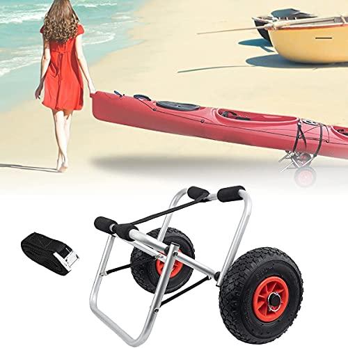 WXking Remolque de kayaks plegable, carritos de kayak ligero, transportador de canoa, portátil, antirust, robusto, con neumático de goma, correa de hebilla, capacidad de carga 160 libras, para paddleb