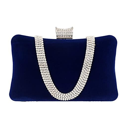 JOEupin Embrague de terciopelo con diamantes de imitación cristal corona cierre bolsa de noche para fiesta formal, Blue, Medium