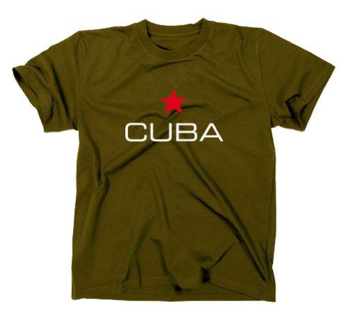 Cuba Kuba Libre T-Shirt, Flagge, Oliv, XL