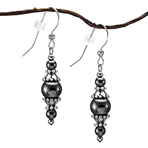 Hematite and Pewter Dangling Earrings with Sterling Silver