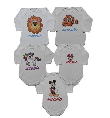 Body personalizado con nombre y dibujo de niño para niña recién nacido