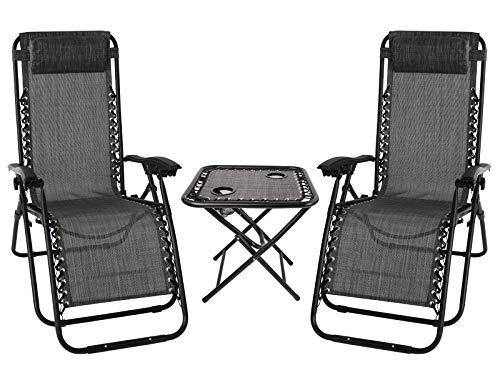 Sun Lounger Set of 2, Folding Recliner Zero Gravity Garden Chair with Table and Adjustable Head Pillow - Outdoor Chair for Garden Patio (grey)