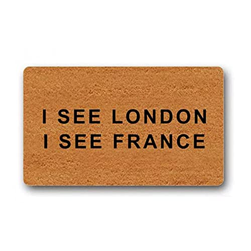 SOTUVO Felpudo Entrada Veo Londres Veo Francia - Entra si Tienes Prosecco - Felpudo de Entrada al Aire Libre con diseño de Alfombrilla Tejida para exteriores-16x24 Inch
