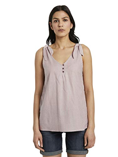 TOM TAILOR Damen Blusen, Shirts & Hemden Blusen-Top mit Knotendetail und Knöpfung Brown White Vertical Stripe,40,23350,8000