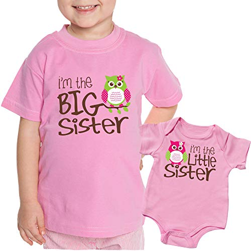 Sibling Tshirt, Owl I'm The Big Sister, Includes Size 3 and 0-3 mo