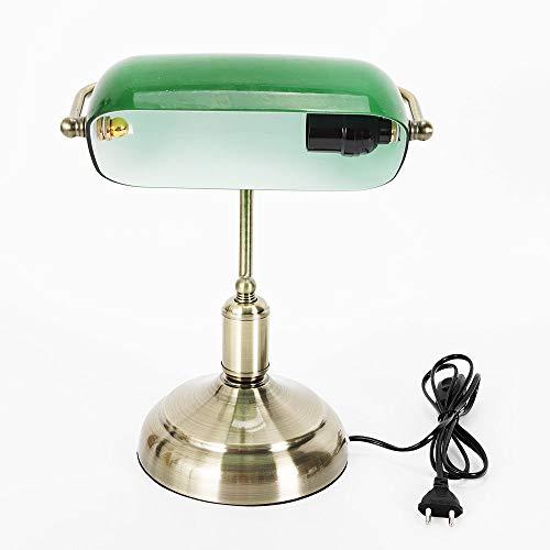 RANZIX Tischlampe Bankerlampe Jugendstil Antik Schreibtischlampe mit grünem Glas-Lampenschirm – Standfuß aus poliertem Messing – Retro Tischlampe – Bibliotheksleuchte – E27-Fassung 42 Watt – Höhe 37cm