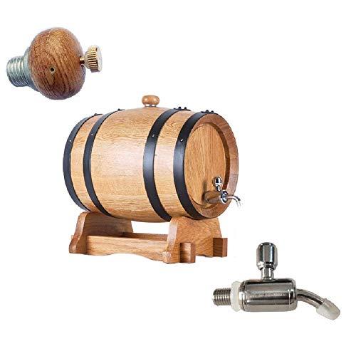 GPWDSN Barril de madera para vino, barril de roble de alta calidad, sin forro de roble barril, licor de cerveza divisor para almacenamiento o envejecimiento licores de vino mini barril de vino (A,5L)