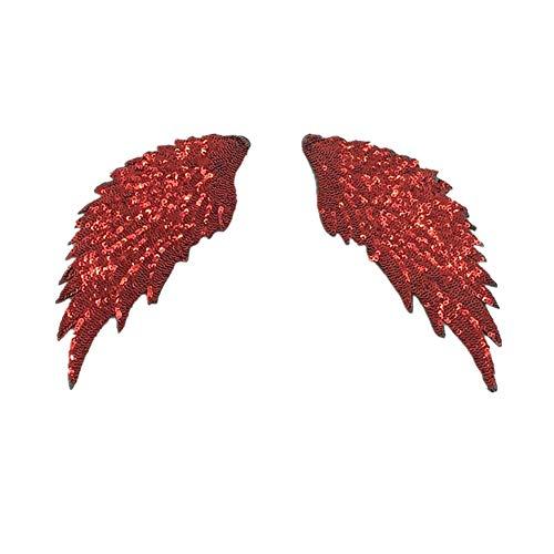 CAOLATOR.Rot Pailletten Flügel Aufnäher Patches Glitzer Kleidung Sticker Applikation Dekor für Kleid T-Shirt Jeans Hut Rock Schal Tasche Westen