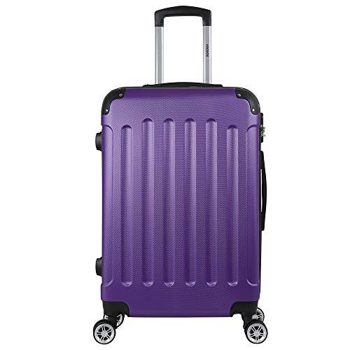 Arebos Eco Hartschalen Koffer Rollkoffer Reisekoffer Handgepäck aus ABS Material mit Zahlenschloss und 4 Rollen (lila, M (Handgepäck))