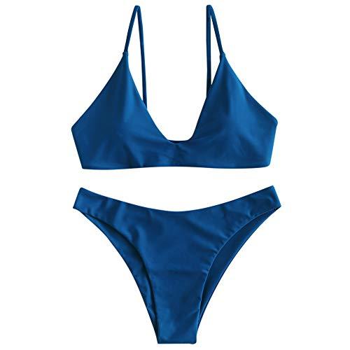 ZAFUL Women's Tie Back Padded High Cut Bralette Bikini Set Two Piece Swimsuit (Blueberry Blue, M)