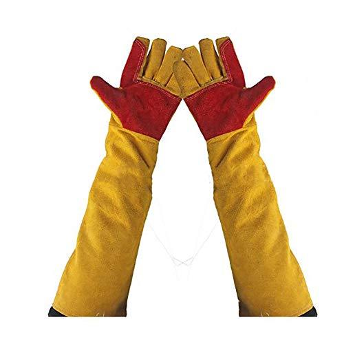 Guantes de soldadura, de cuero, resistentes al calor, guantes de trabajo, guantes de trabajo a prueba de cortes, guantes de jardinería para chimenea, mangas extra largas
