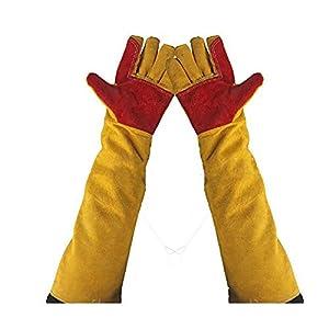 Guantes de soldadura gruesos de cuero resistentes al calor, guantes de trabajo de protección, guantes de trabajo a prueba de cortes, guantes de jardinería para chimenea, mangas extralargas