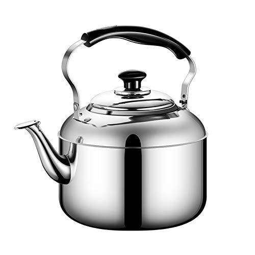 MILK Pfeife Teekanne, mit Lebensmittelqualität Edelstahl Silberkocher mit Ergonomischem Griff und Filterloch im Wasserkocher (Größe : 6L)
