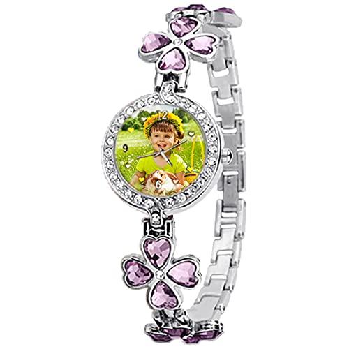 Reloj Azul Verde Púrpura con Foto Reloj Personalizado Reloj Personalizado con Imagen Reloj De Mujer Reloj Plateado Impermeable Reloj De Aleación Cumpleaños Aniversario Mejor Regalo