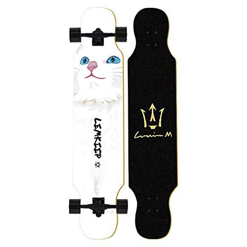LIYIN Standard Longboard Skateboard - 8-lagiges Maple Double Kick Deck Concave Cruiser Trick Skateboard für Anfänger, die Stunts Lernen - Maximale Belastung 150 kg