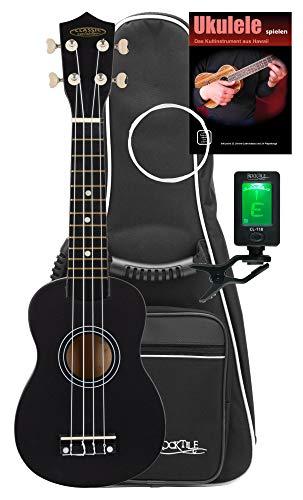 Classic Cantabile US-50 BK Sopranukulele Set - Ukulele mit 12 Bünden - Komplett-Set inkl. Tasche, Stimmgerät, Ersatzsaiten und Schule- leichtgängige Gitarrenmechanik - Weiße Nylon-Saiten - Schwarz