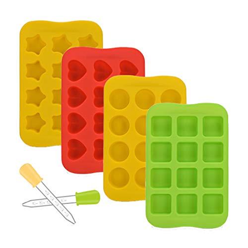 4 Packs Mallen Ijsblokjes Trays voor hart, ster, vierkant, rond. Siliconen chocolade non-stick bakvormen Ijsblokjes…