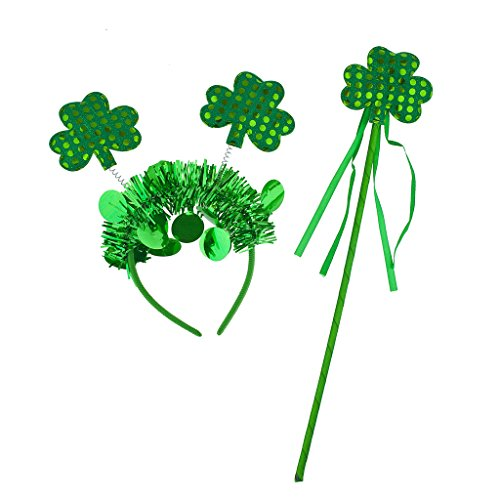 LUX ACCESSORIES Green St Patrick's Day Parade Shamrock Party Accessory Set (2pc)
