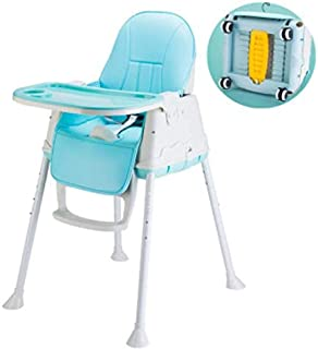 【LR.store】 ベビーチェア ハイチェア 子供用椅子 食事椅子 6~36ヶ月 赤ちゃん用 子供 折りたたみ 高さ調節可能 昇降機能付き 多機能 (ブルー)