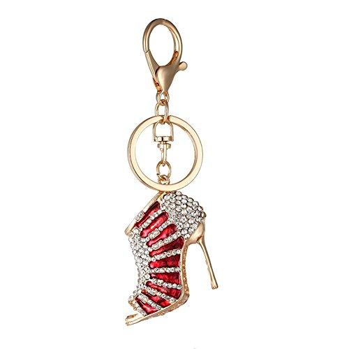 Kanggest 1 Piezas Llaveros de Coche Tacones de Cristal Forma Pequeños Cadena de Clave Key Holder Para Decoración del Coche/Puerta/Teléfono/accesorio de bolso(Rojo)