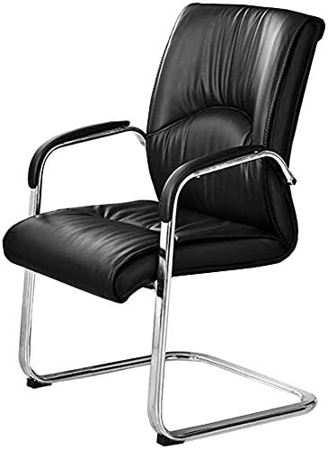 HZYDD Silla de oficina ergonómica, silla de oficina de reunión, respaldo de cuero, cojín de espuma transpirable y base de acero resistente negro