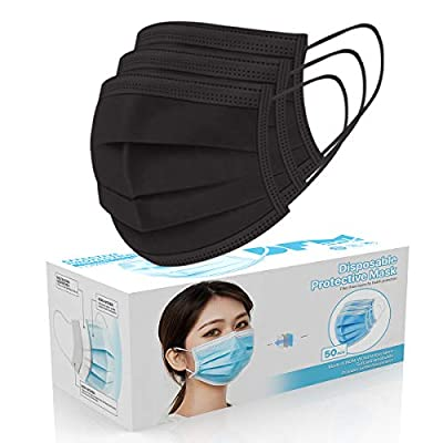 [50 Pc/Box] Face Mask Disposable Non Surgical 3-Ply Earloop Mouth Cover Masks- Black (USA Seller in stock)