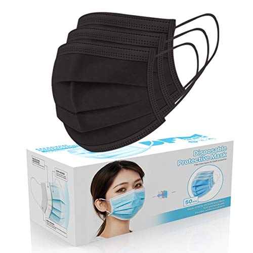 50 Pcs Disposable Face Cover 3-Ply Filter Non Medical Breathable Earloop Masks (Black) (USA Seller in stock)