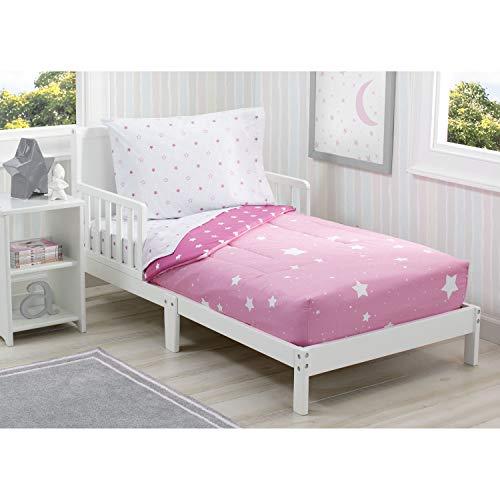 Delta Children Toddler Bedding Set | Girls 4 Piece Collection | Fitted Sheet, Flat Top Sheet w/Elastic Bottom, Fitted Comforter w/Elastic Bottom, Pillowcase, Blushing Star | Pink