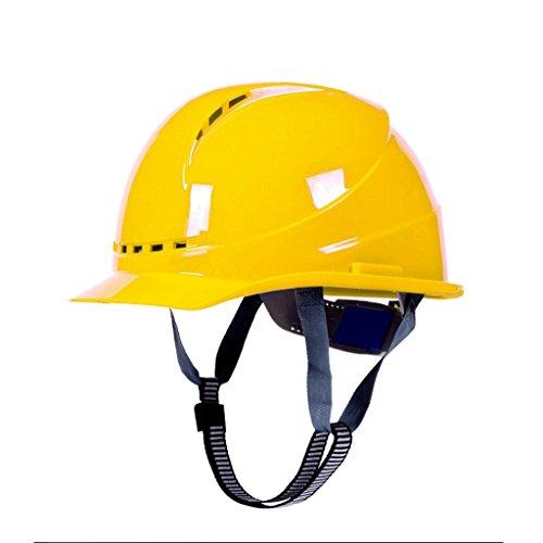 DGF Casque Casques de sécurité de construction de haute résistance Bouchons de sécurité FRP Respirant Ouragan Décompression Réglage de la taille du tampon (Couleur : Le jaune)