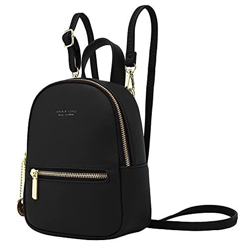 Mini Rucksack Damen,Aeeque Rucksäcke Damen Klein,Handtasche Kleiner Frauen,Mini Daypack für Mädchen,Mini Backpack PU-Leder,Leicht Elegant Kleine Damenrucksack für Reisen/Party/Konzert - Schwarz