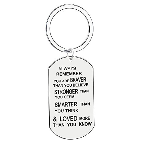 Stainless Steel Key Chain Ring You Are Braver Stronger Smarter Than You Sem Think Family Friends Gift inspirational gifts for women frends (Stainless Steel)