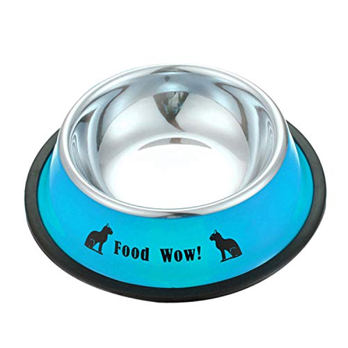 Cute Cartoon Pet Dry Food Bowls for Cats Dogs Drinking Water Fountain Durable and Non-Toxic,Blue,S