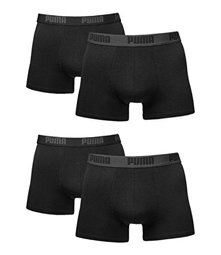 Puma Herren Boxer Basic Unterhosen 4er Pack in verschiedenen Farben 521015001 (black/black, L)