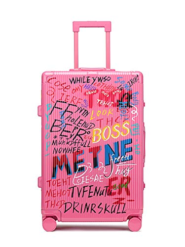 Suitcase Trolley, Suitcase Luggage,Graffiti Art, Fashion Trends,Carry on Hand Cabin Luggage Hard Shell Travel Bag Lightweight,Durable 4 Spinner Wheels,Pink,20 inch