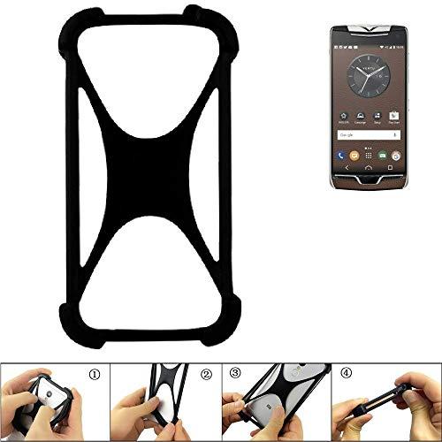 K-S-Trade® Handyhülle Für Vertu Constellation (2017) Schutz Hülle Silikon Bumper Cover Case Silikoncase TPU Softcase Schutzhülle Smartphone Stoßschutz, Schwarz (1x),