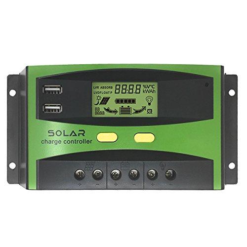 GIARIDE 30A 24V 12V Regulador de Carga Solar Panel Batería PWM Controlador Inteligente Parte USB Pantalla LCD Automático Protección Contra Sobrecarga Compensación Automática de Temperatura
