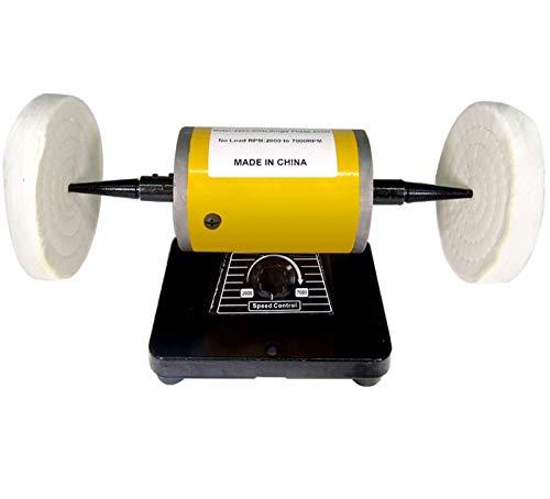 BAOSHISHAN Pulidora de Joyas Pulidora de Mesa 200W Esmeriladora de Banco de Velocidad Variable 220V 7000rpm