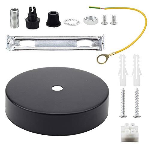 Rosone per lampadario da soffitto, con cavo e morsetto Flex, piastra di montaggio per luce, 100 mm, disponibile in vari colori Nero