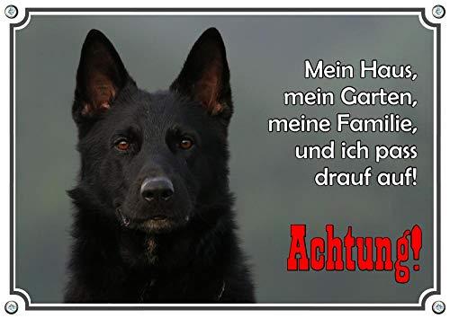 Petsigns Hundeschild schwarzer Schäferhund - eindrucksvolles Metallschild, DIN A4