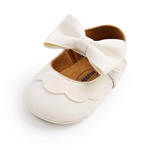 MASOCIO Baby Schuhe Mädchen Babyschuhe Lauflernschuhe Ballerinas Taufschuhe Weiß 12-18 Monate