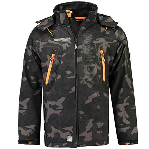 Geographical Norway Techno Softshelljacke Herren Kapuze abnehmbar, Black/Orange, L