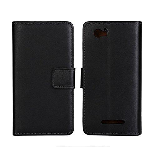UKDANDANWEI Sony Xperia M Hülle - Book-Style Wallet Case Flip Cover Etui Tasche Case mit Standfunktion Für Sony Xperia M C1904 C1905 Schwarz