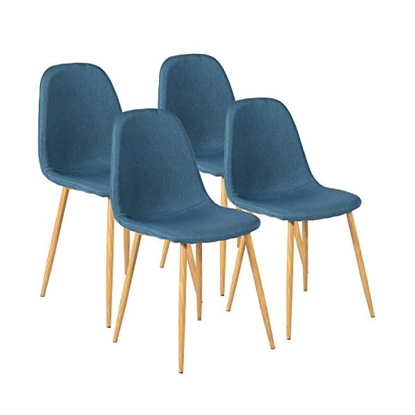 VECELO,Fabric Cushion Seat Back Sturdy Metal Legs,Dining/Living Room Chairs Set of...