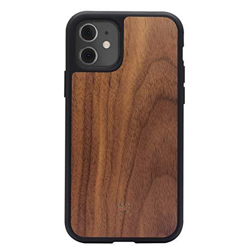 Woodcessories - Bumper Hülle kompatibel mit iPhone 11 Hülle Holz, iPhone XR Hülle Holz Walnuss