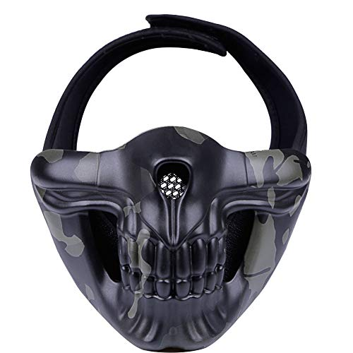 ATAIRSOFT Airsoft Demon Tactical Skull Protective Half Face Mask para Paintball Cosplay Costume Party Hockey Motocicleta (Black Multicam)