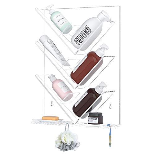 HIIMIEI Acryl Badezimmer Duschablage Ohne Bohren, Hängend Duschregal mit Saugnapf und Ablaufloch | Shampoohalter Als Dusch Organizer für Shampoo, Lotion, Duschgel, Conditioner Usw - Transparent