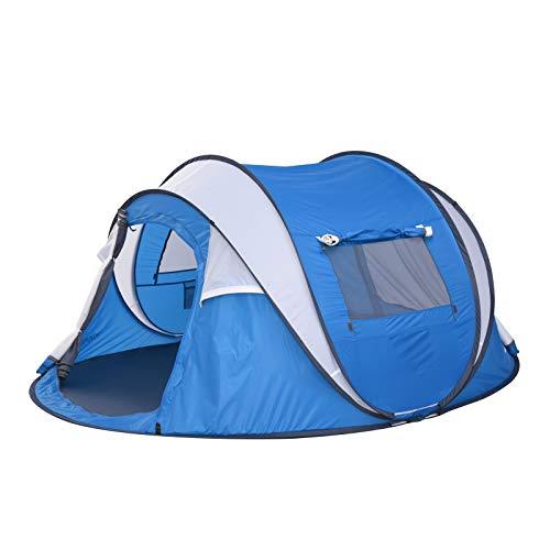 Wurfzelt 4-6 Personen,Pop up Zelte mit Lounge,Schnellaufbauzelt,Leichtes und praktisches Zelt,Wasserdicht und Sonnenschutz,Campingzelt,Outdoor Zelte,Strandzelt,Familienzelt,Ferien-Zelt (Blau)