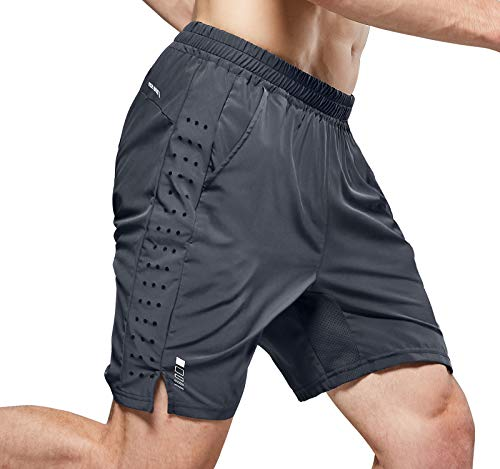 NICEWIN Men's 7-inch Running Shorts Quick Dry Lightweight Zipper Pocket Short Pants for Crossfit Athletic Gym Workout Grey L